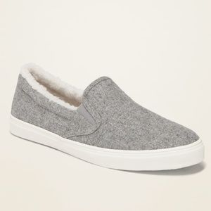 Sherpa-lined slip-on shoes
